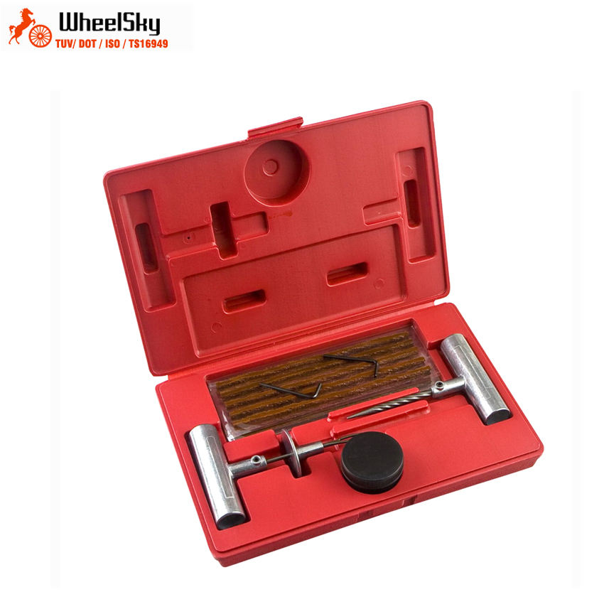 Wheelsky 25 pc well equipped motorcycle bicycle universal tubeless radial tool car tire repair kits