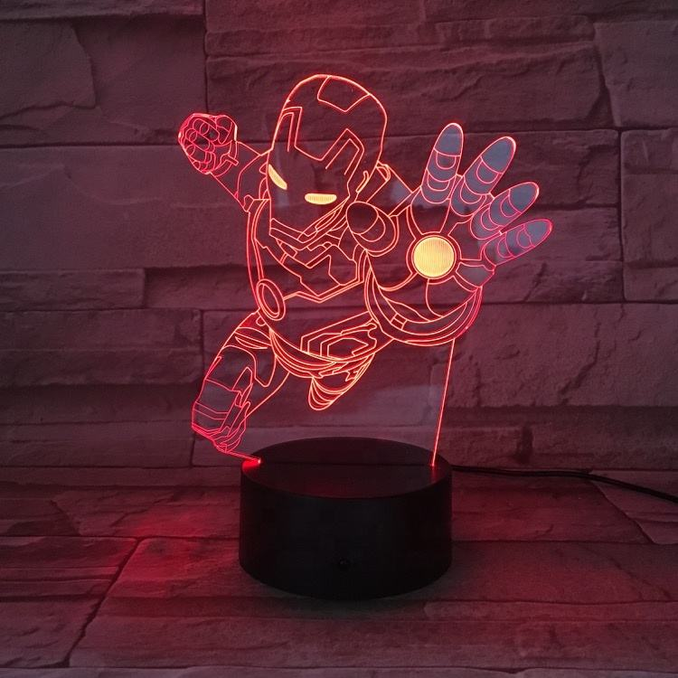 3D Kids Night Lamp The Avengers Superhero Captain America Hulk Black Panther Ironman Spider man LED Night Light for Child