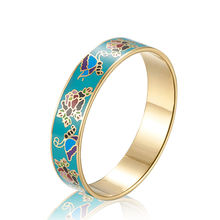 Custom Personality Flower Pattern Bangle Bracelet Enamel Charms 316 L Stainless Steel Silver plated gold colour