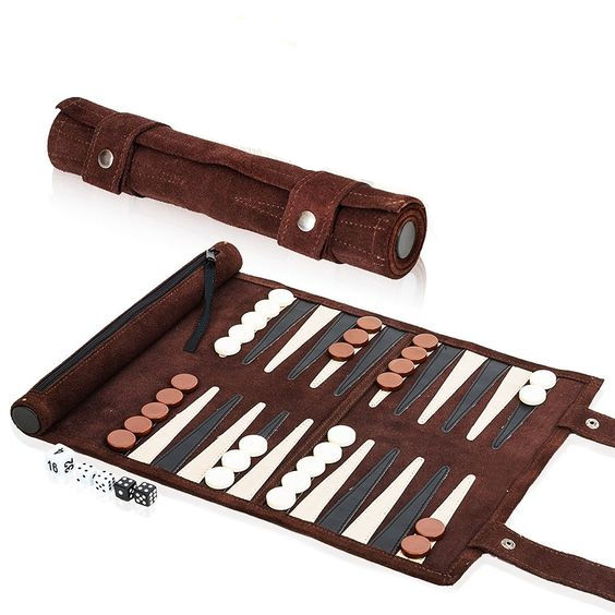 Lederen Backgammon Roll Set