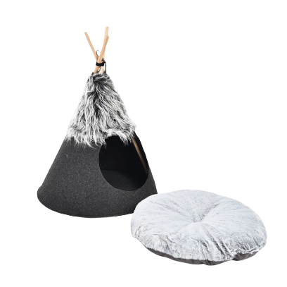 Wholesale manufacturer new design conical pet cave bed three sticks foldable pet teepee cat tent