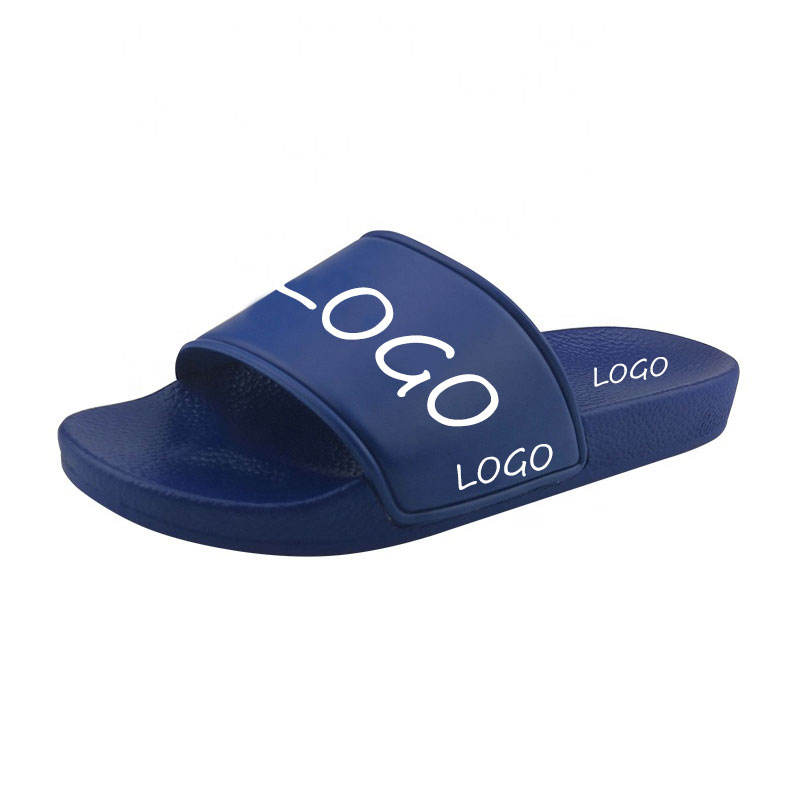 Custom Dark blue sole slides sandals design Your Brand Logo blank sandal Printed Men Eva Slides Slipper PU Shoes