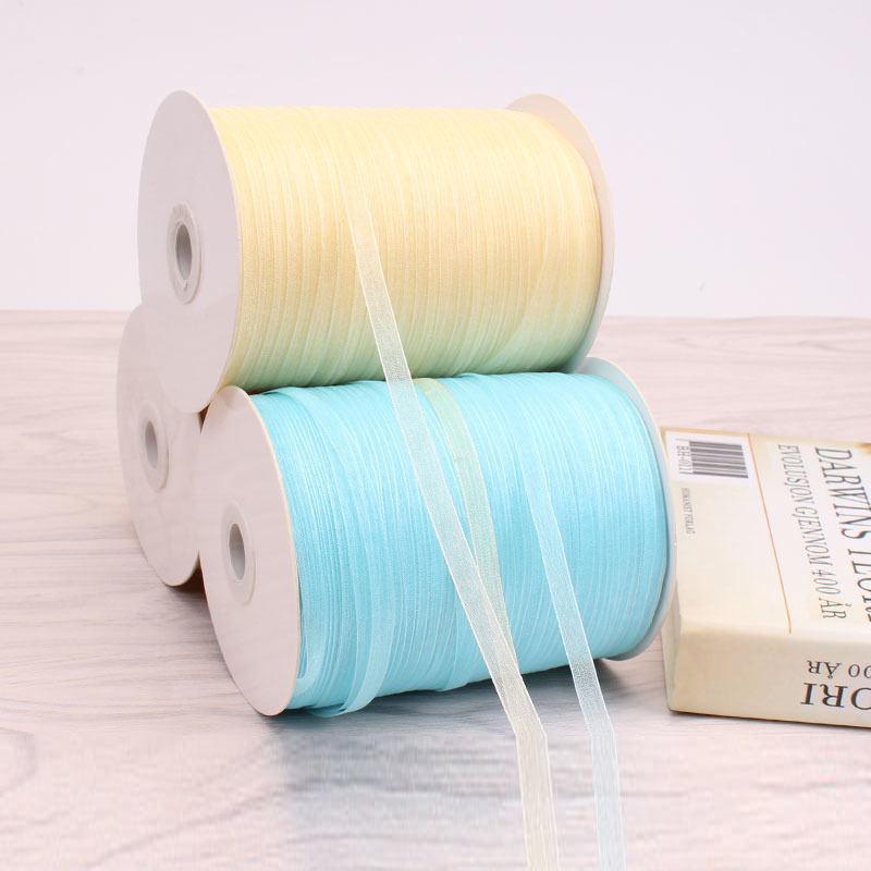 6mm bandeau tissé ruban main crochet chapeau neige fil ruban cadeau mousseline de soie fil ruban 450 mètres de long