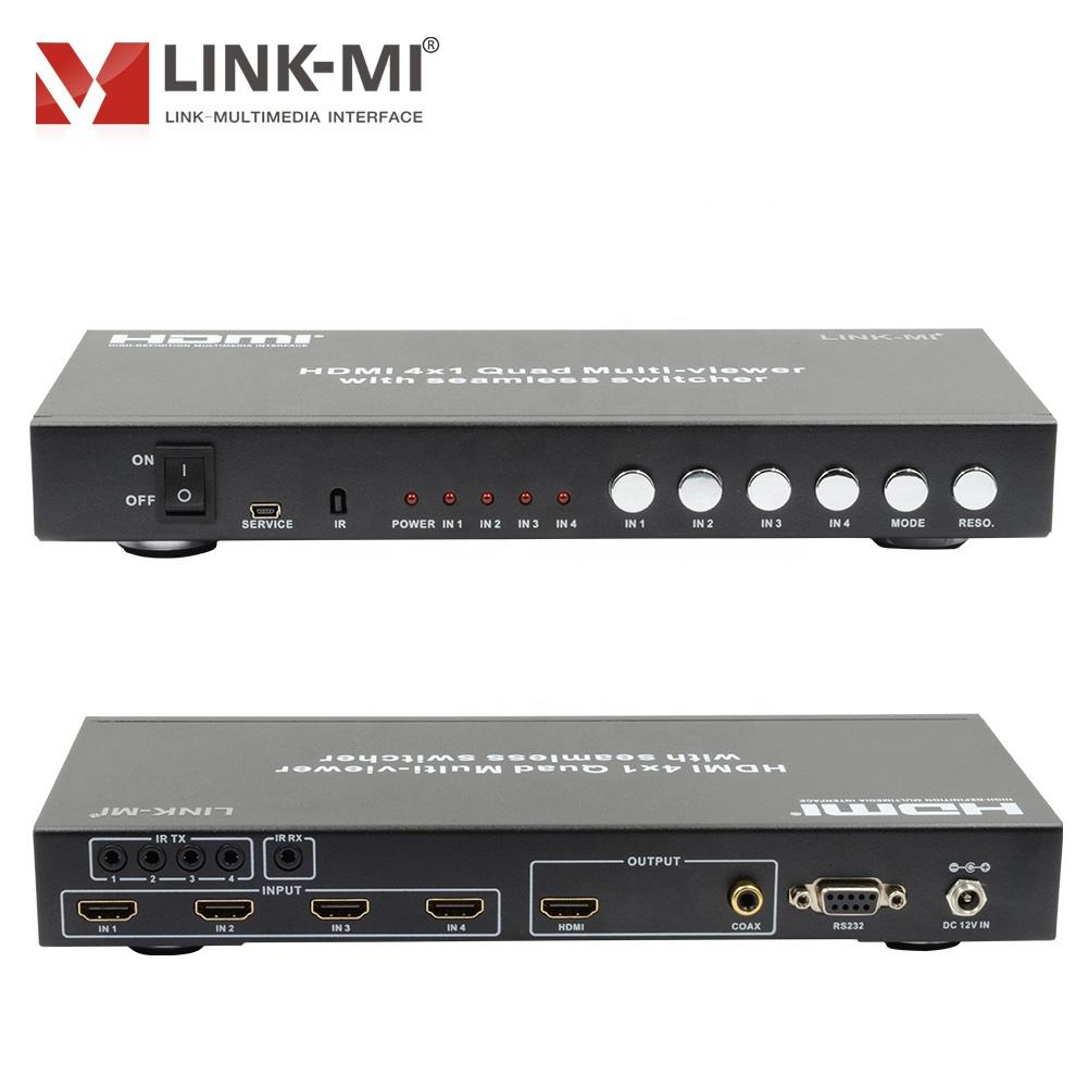 LINK-MI 50M 1080P Video Multi-Viewer über CAT5e/<span class=keywords><strong>6</strong></span> 4 in <span class=keywords><strong>1</strong></span> out <span class=keywords><strong>HDMI</strong></span> <span class=keywords><strong>1</strong></span>,3 ein HDCP <span class=keywords><strong>1</strong></span>,2 Scaler Up/Unten 3 IR Remote Taste RS232 Control