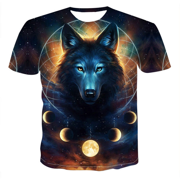 2019 New style 3d wolf pictures summer print couple t-shirt 6xl short sleeve men's t-shirt