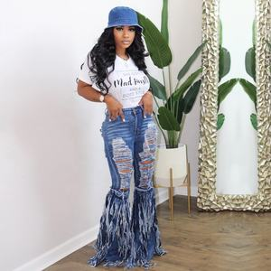 Jeans Trousers Tassel Hollow Out Women Flared Pants