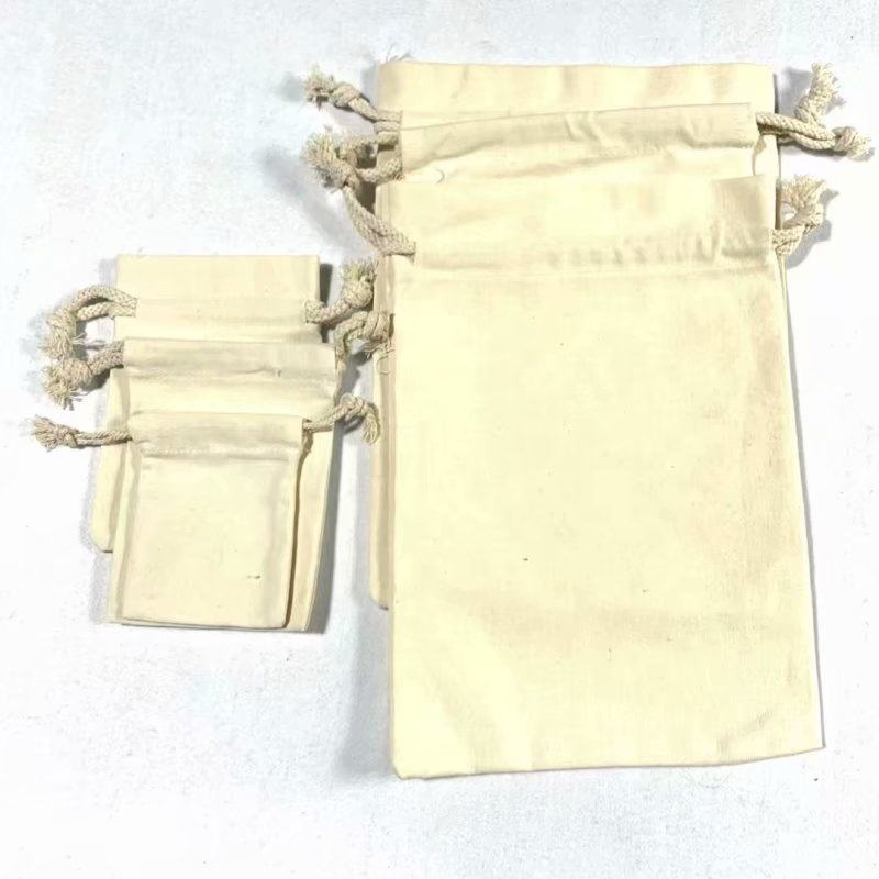 Factory price eco friendly reusable blank white organic cotton canvas recycle shopper carrirer draw string bag