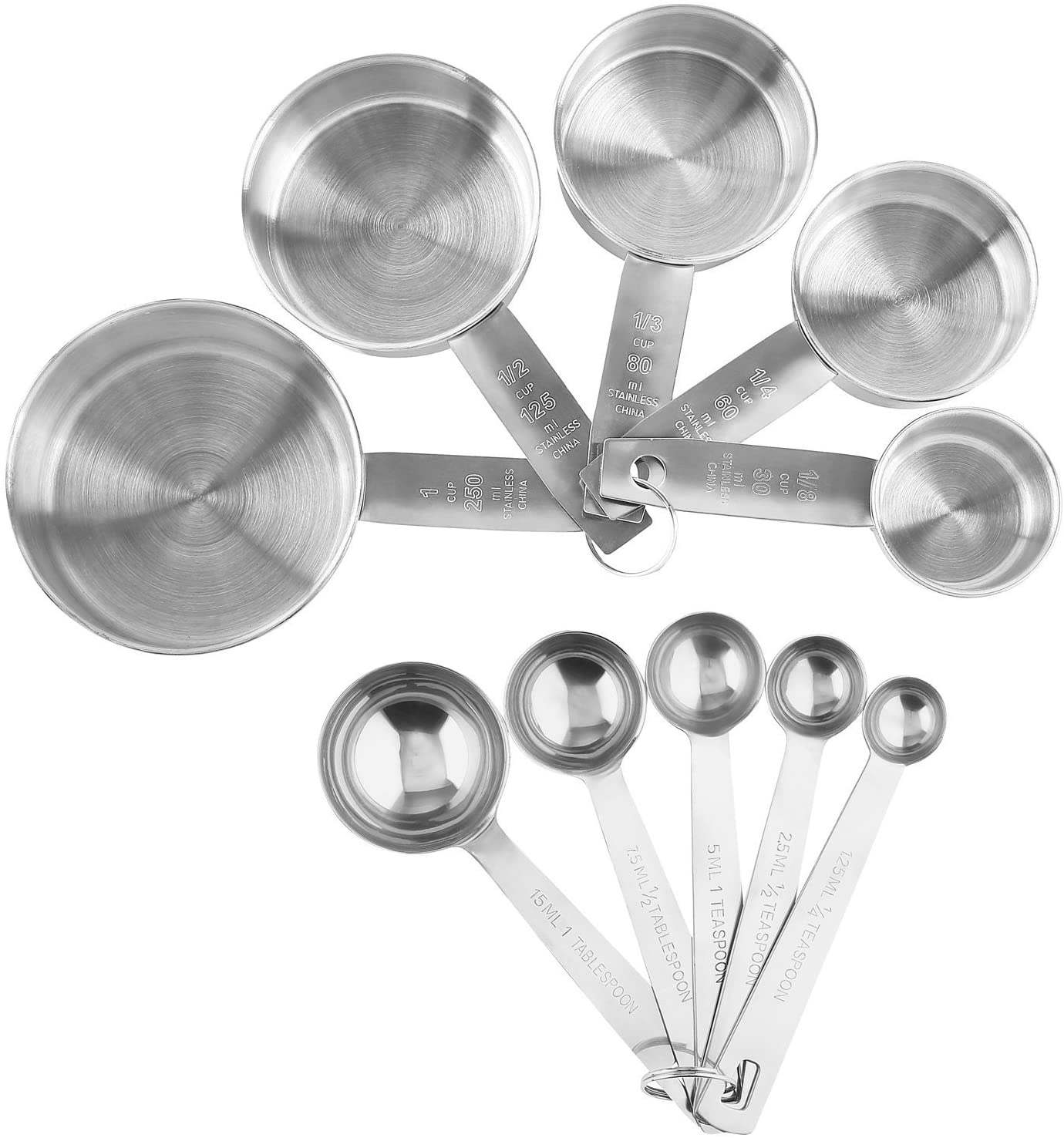 Stainless Steel Measuring Cups And Spoons Set Engraved Measurements Measuring Cup Spoon