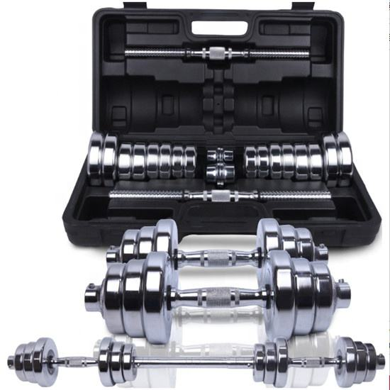 Powerlifting fitness regolabile manubri 40kg bilanciere chrome dumbell set