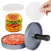 Non-Stick Burger Press Aluminum Hamburger Patty Maker with 100 Wax Papers for BBQ Grill