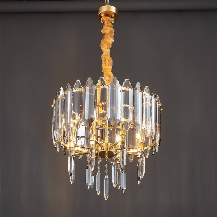 Hotel modern iron gold chandelier chain necklace crystal ring chandelier light pendant.