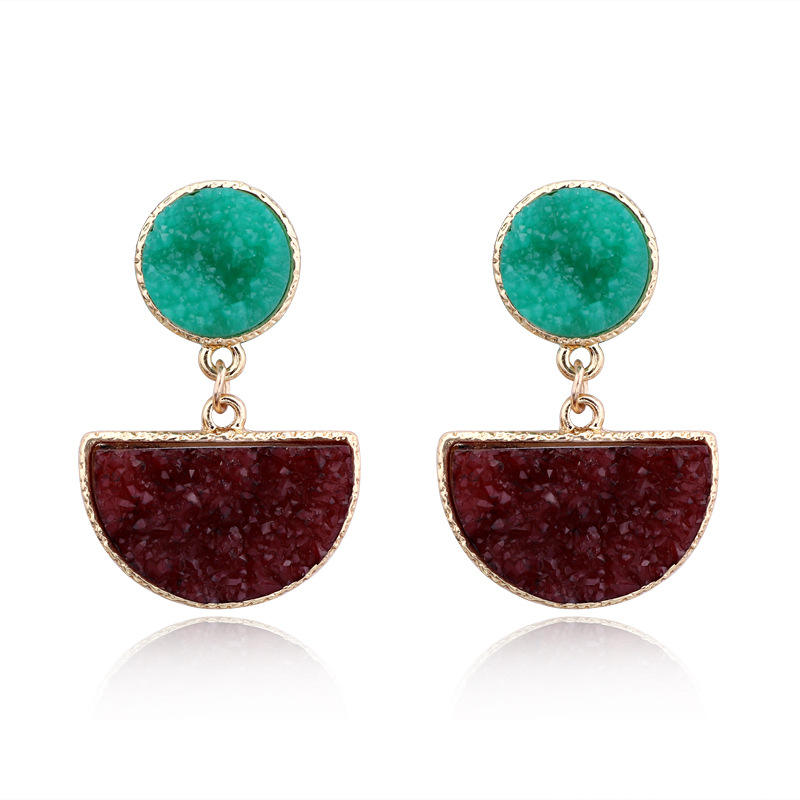 HOVANCI New Wine Red Semicircular Druzy Dangle Earrings Simple Geometric Round Resin Quartz Stone Drop Earrings For Party