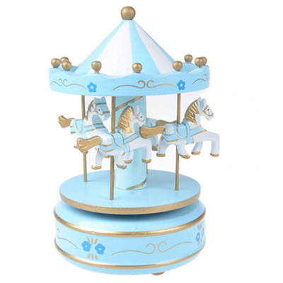 Hot sale wooden christmas wind up carousel music box attractive carousel music box for children best toy