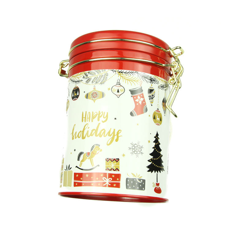 Hot selling empty round shaped coffee packaging gift tin can with lid
