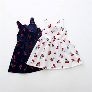 Cherry Pattern Girls Dress Sleeveless Kids Apparel Summer Baby Girl Clothes Boutique One Piece A-line Dress Hot Sale