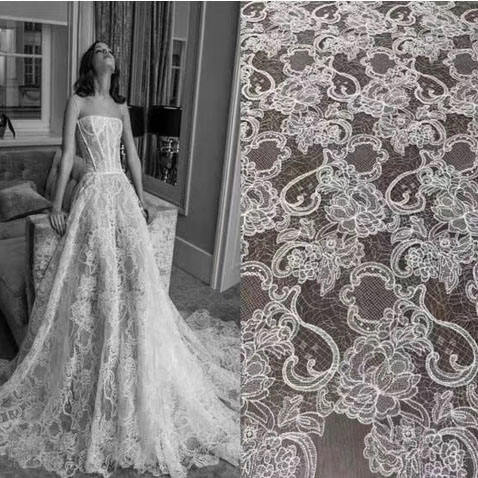 Custom wedding bridal embroidery lace fabric white high quality