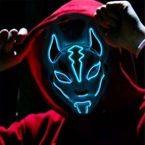 Offres Spéciales LED Halloween Allument Masque Effrayant Renard Rave Fête Cosplay Masques