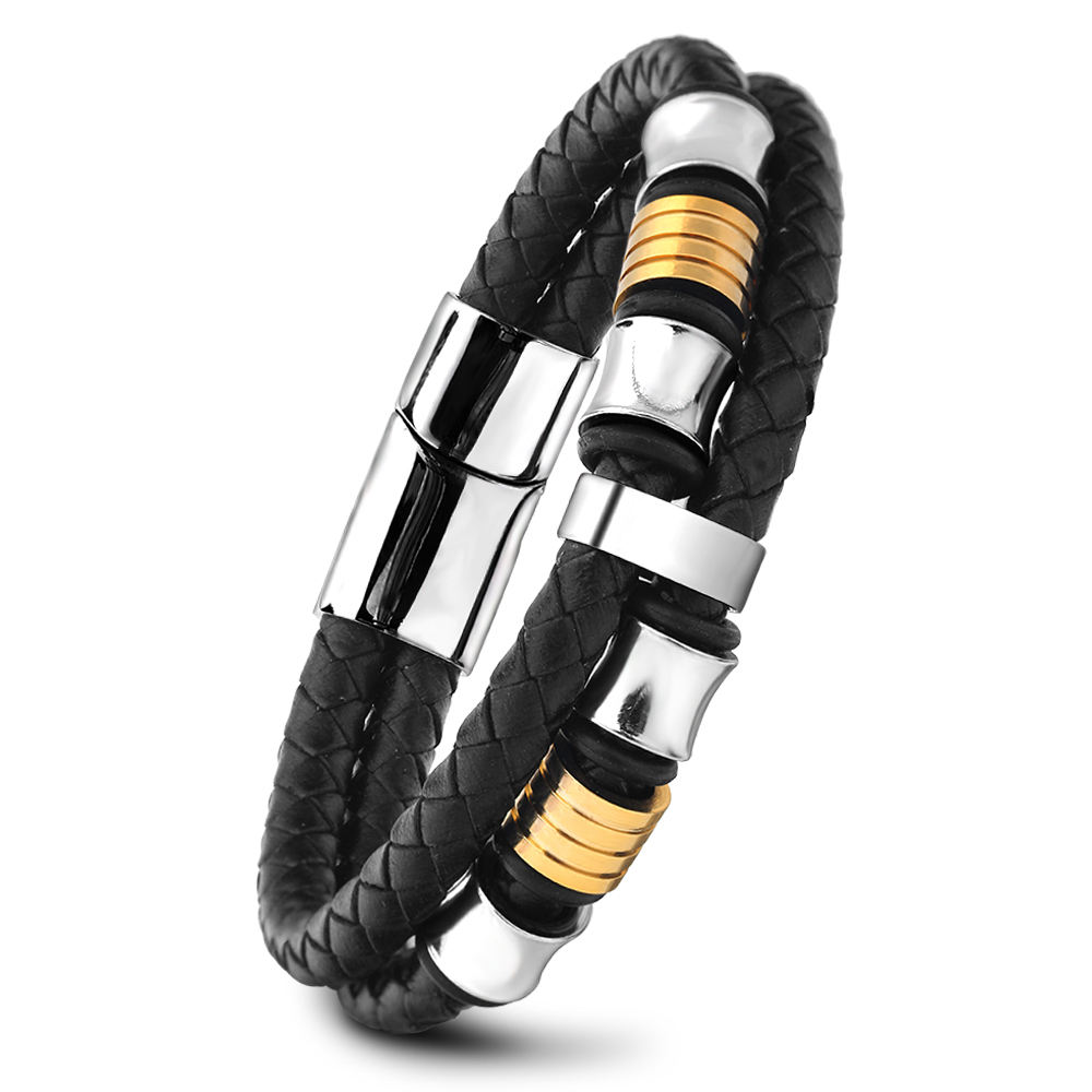 Ruigang Stainless Steel Magnetic Plug Buckle Leather Braided Bracelet