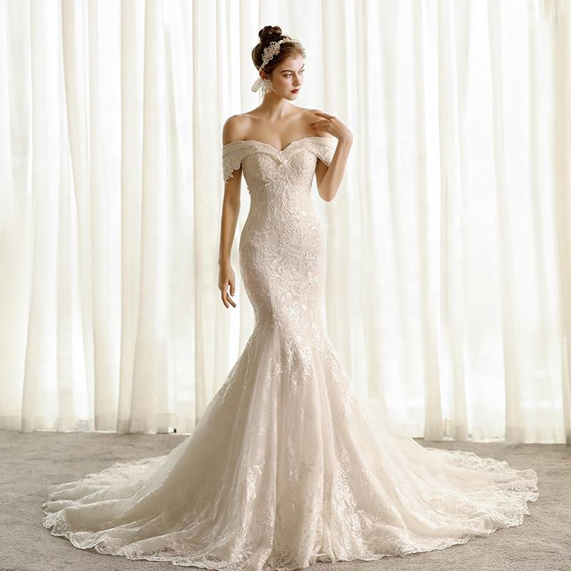 SL6814 elegant Ivory wedding dress 2020 mermaid corset bride dresses lace wedding gowns for woman plus size bridal dress