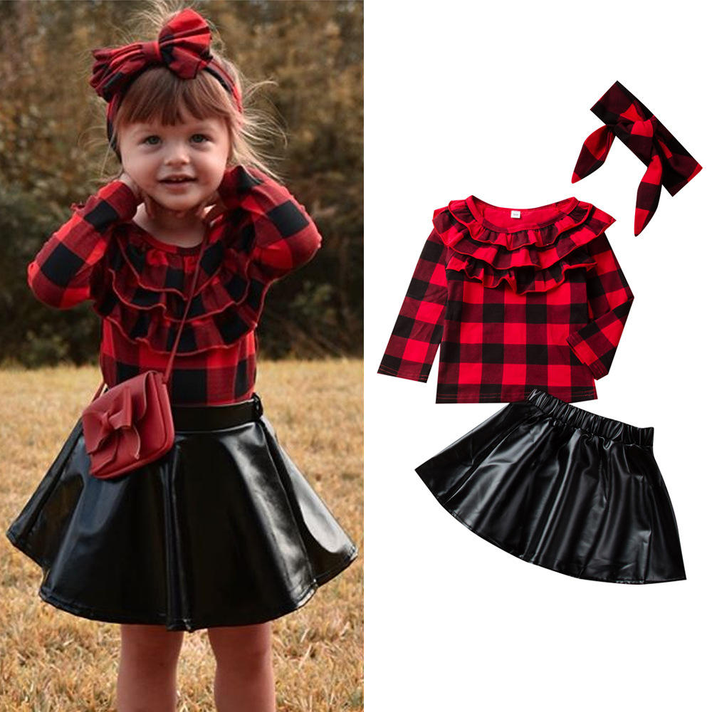 2020 Fall/Winter Little Girls Clothing Sets Fashion Kids Long袖Plaidシャツ + Leatherスカート + Headband 3Pcs Baby女の子Outfit