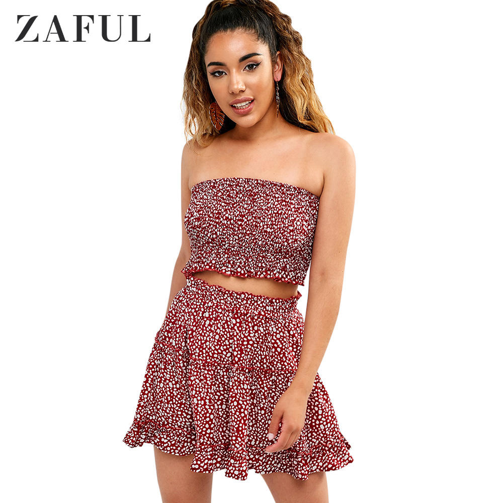 Printed Shirred Bandeau Top And Sexy Two Piece Sets Women Skirt
