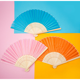 Person Decor Fold Organza Wedding Favors Silk Hand Fan Bamboo