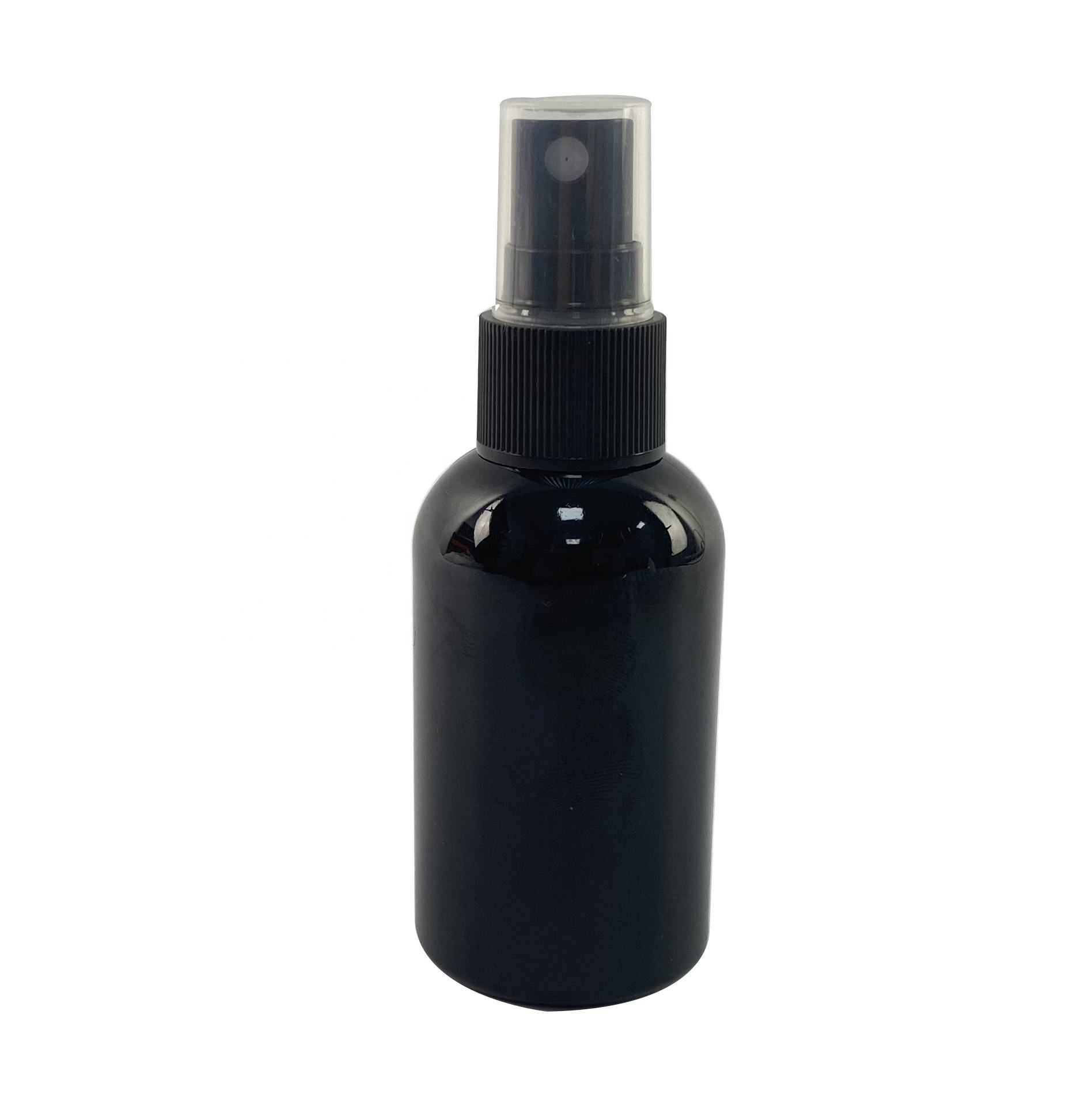 Fast delivery 2 oz 60ml Black Plastic PET Bottle with black disc top cap, fine mist spray pump caps