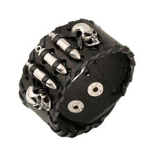 European and American latest style men punk wide leather skull & bullet Skeleton Halloween Gothic leather  bracelet