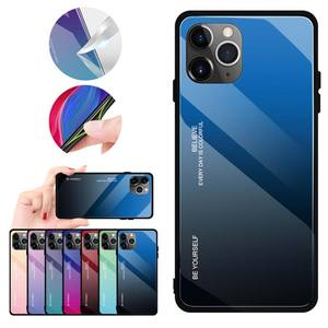Red Blue Gradient Glass Mobile Phone Cover For iPhone 11 Pro TPU Back Cover+Temper Glass Case For iPhone 11 Pro 5.8inch