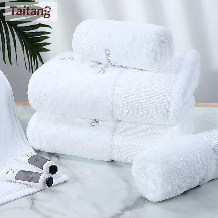 Taitang Hotel Linen Custom Towel Embroidered Logo White Cotton Bath Towel 70 140