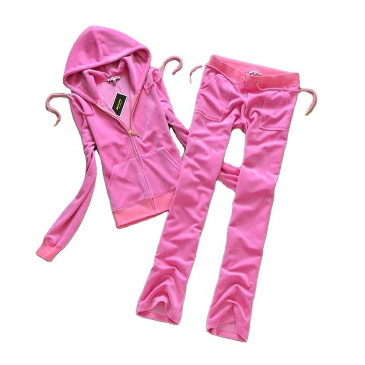 Low MOQ! Best Selling Custom Design High Quality Women Sweat Velour Tracksuits
