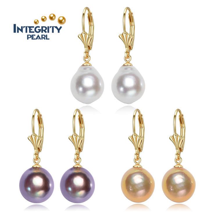 Véritable 11-12 MM blanc Akoya Freshwater Pearl Dangle Sterling Silver Boucles d/'oreilles