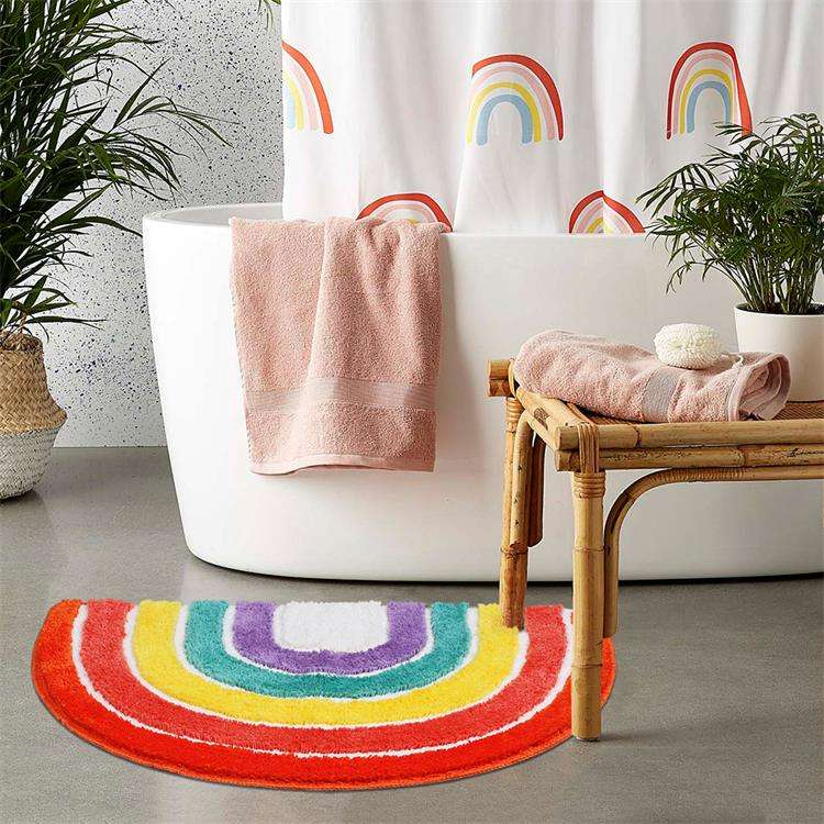 Custom shape home goods funny rainbow color easy wash bathroom rug microfiber bath mat for tub