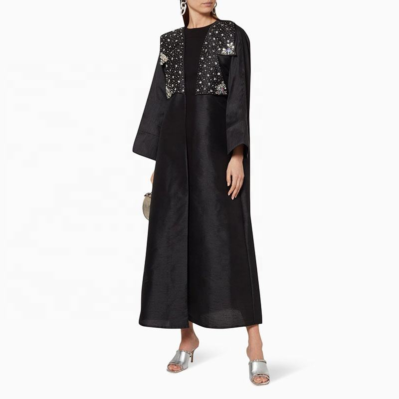 2020 Latest Burka Loose Grown Design Kaftan Dress Elegant Pearls Middle East Ethnic Clothes Trendy Flower Applique Dubai Abaya
