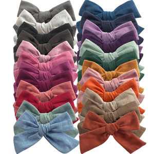 Hand knot 4-inch Cotton Fabric Hair bow clips barrettes Headwear Hairgrips Baby Girls Hair bow accessories