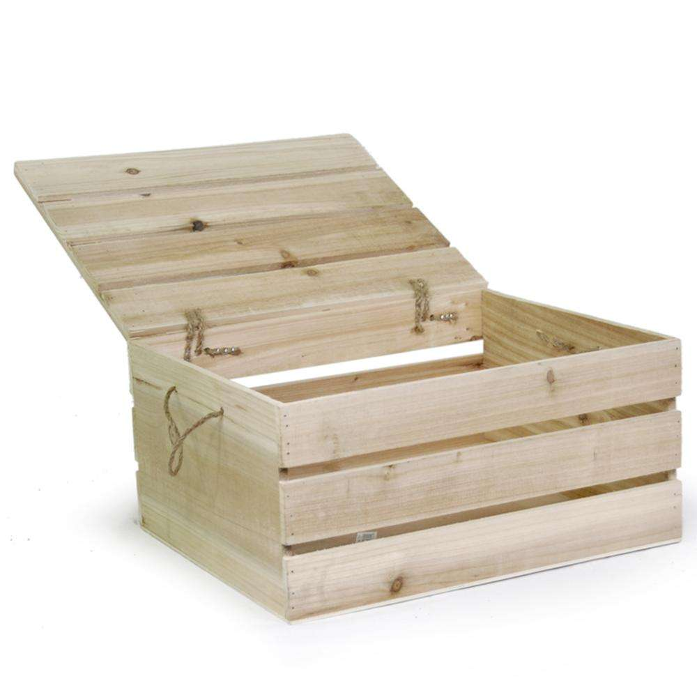 Supermarket Natural Fruit and Vegetable Storage Wooden Crate Storage Box with Lid
