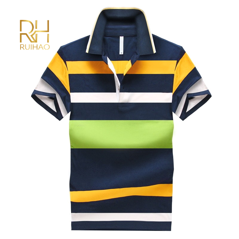 Vintage Chic Classic Striped Print 100% Cotton Slim Fit Polo Shirt For Men