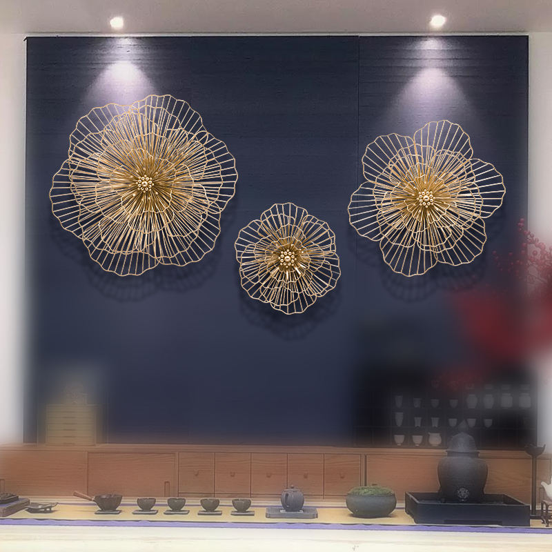 small size hollow out metal flower wall decoration metal art gold interior decoration modern luxury home wall decor