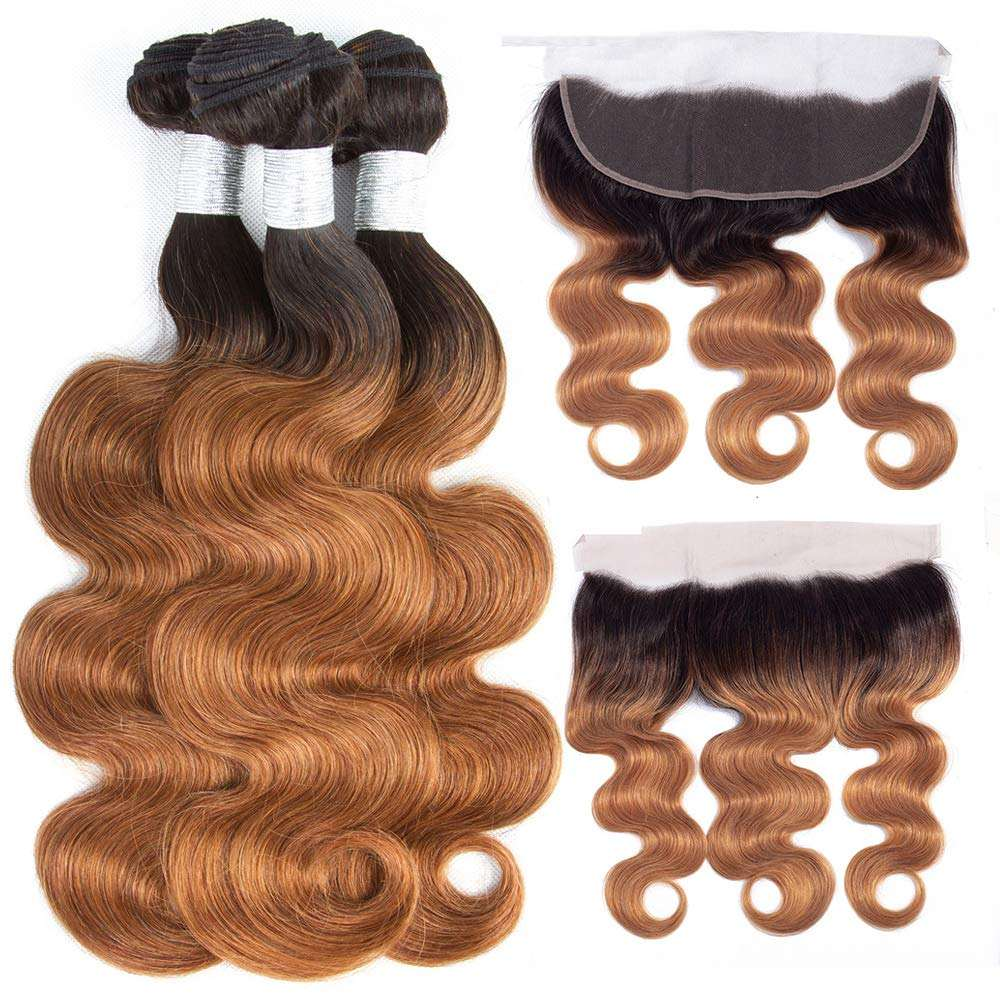 T1B/30 Ombre 3 Bundles with 13*4 Lace Frontal Closure, Pre Plucked Two Tone Body Wave Human Hair Weave with Frontal
