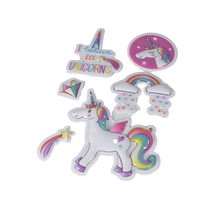 Manufacturer custom size cute unicorn stickers kids funny blister puffy sticker