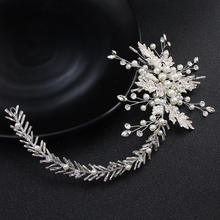 Silver hair accessories leaf Flower pearls headpiece Bridal crystal hair band Handmade alloy wedding headband vine