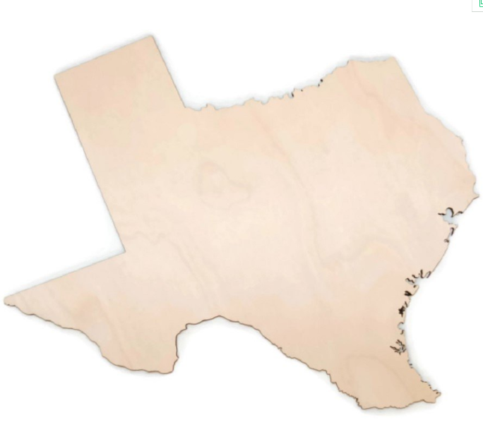 Texas State Laser Cutout Slice Unfinished Wooden DIY Decoration