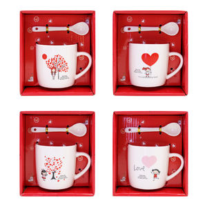 Best Sale Travel Valentines Gift Reusable Coffee Mug With Handle And Spoon Wholesale