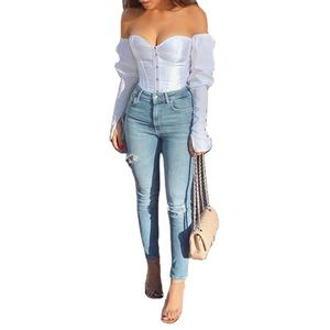 Hot Verkoop Off Shoulder Corset Crop Top Strapless Boog Kwastje Slash Hals Lange Mouwen Backless Vrouwen Shirt En Blouse