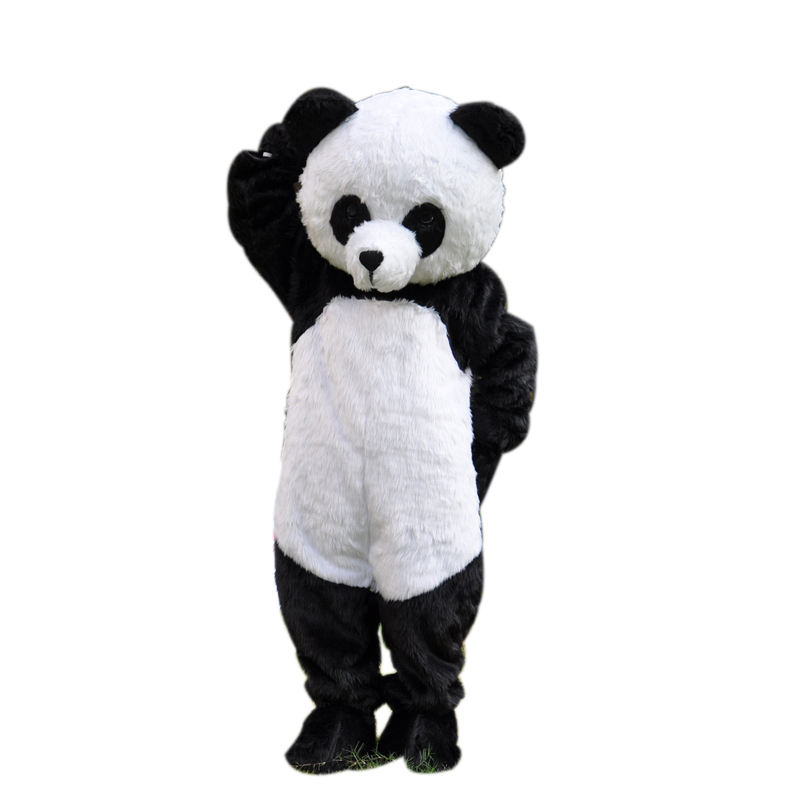New Version Long Plush Panda Mascot Adult Costume For Life Size Full Body Panda Character Outfits For Kid's Birthday Halloween