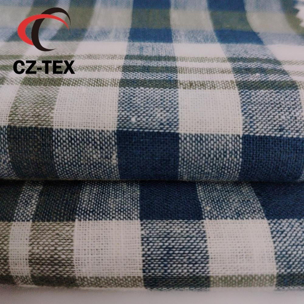 Classical plaid shirts fabric with 55 linen 45 cotton density 60*58 fabric