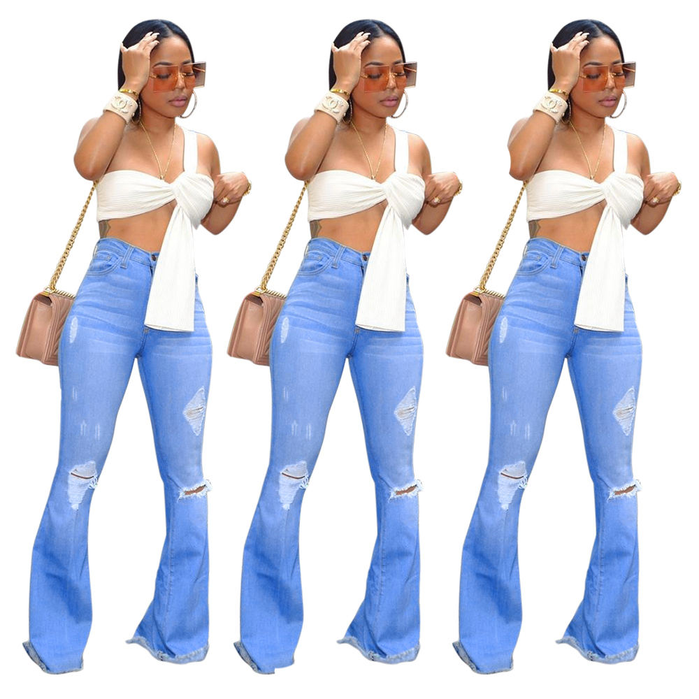 New design Ladies High Waist Trousers Bell Bottom Jeans Wide Leg Women Ripped Denim Jeans Pants with Tops sale