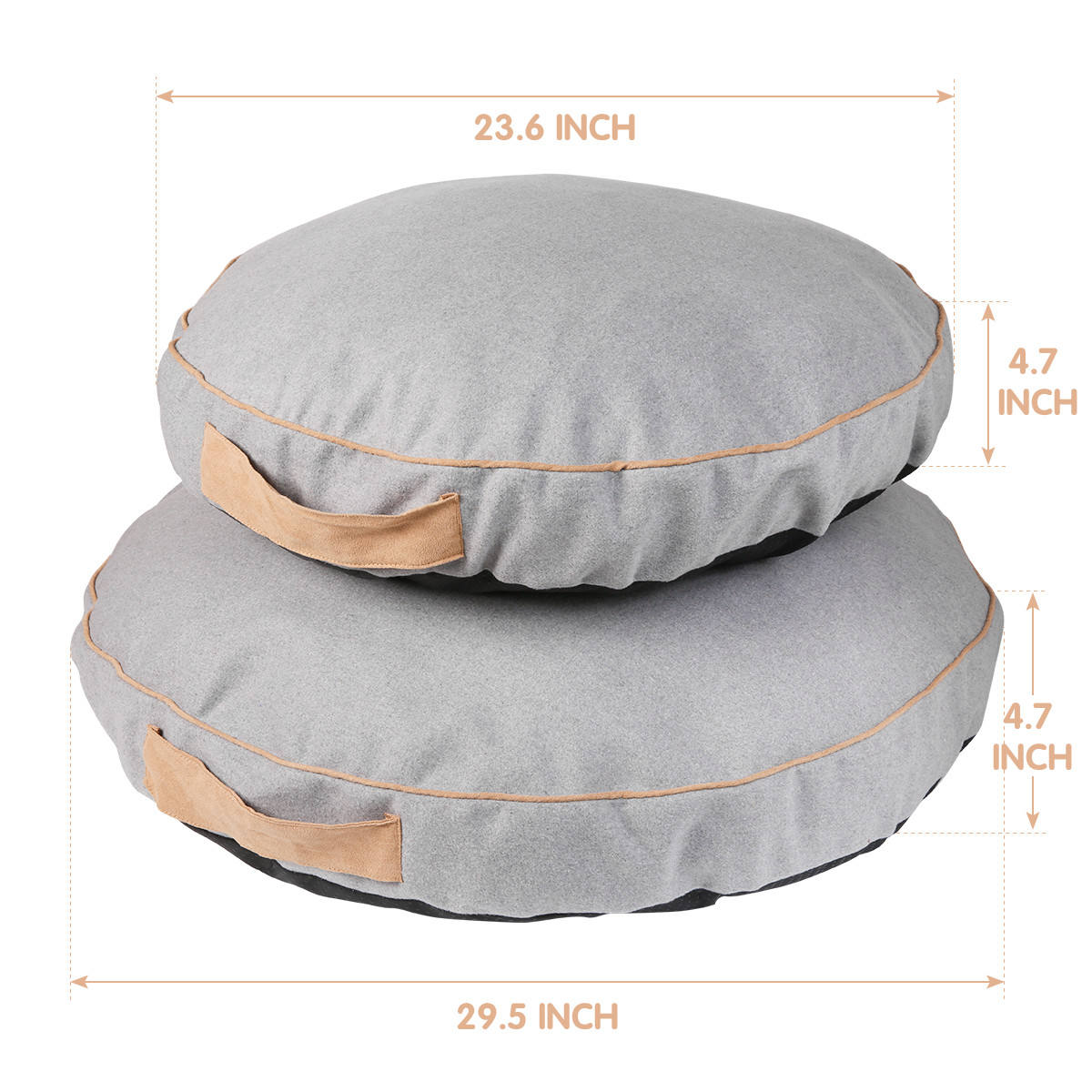 Round Pillow Dog Bed- Round Ball Pet Bed for Small Dogs & Cats Removable Cover Zipped Anti-slip Bottom