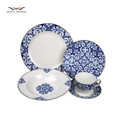 new bone china rim shape 20pcs dinner set with blue pattern