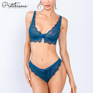 PRETIBISOUS lace sexy transparent ladies underwear panties thong unlined bra and panties set women's underwear